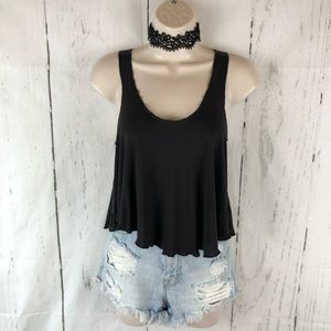 Gray cropped swing top